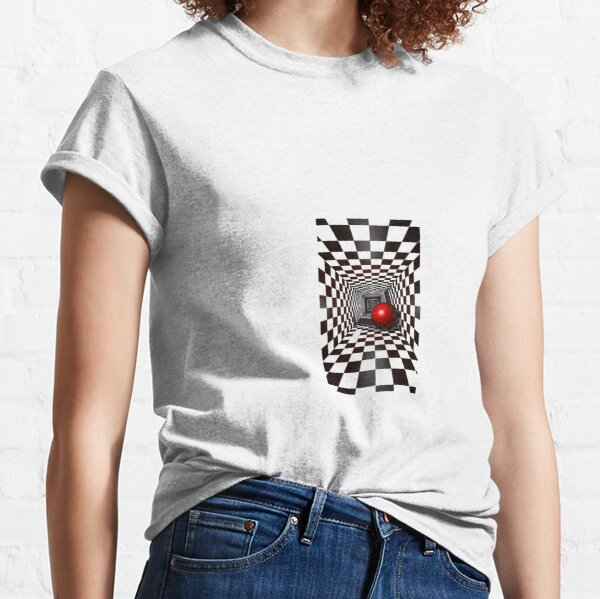 Black and White Square Illusion. Chess Tunnel with a Red Ball Classic T-Shirt