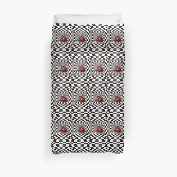 Chess, Black and White Square Illusion. Chess Tunnel with a Red Ball Duvet Cover