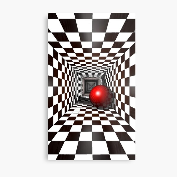 Black and White Square Illusion. Chess Tunnel with a Red Ball Metal Print