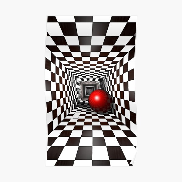 Chess, Black and White Square Illusion. Chess Tunnel with a Red Ball Poster
