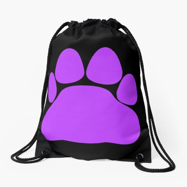 Animal Art Cute Purple Simple Cat Dog Paw Print Drawstring Bag