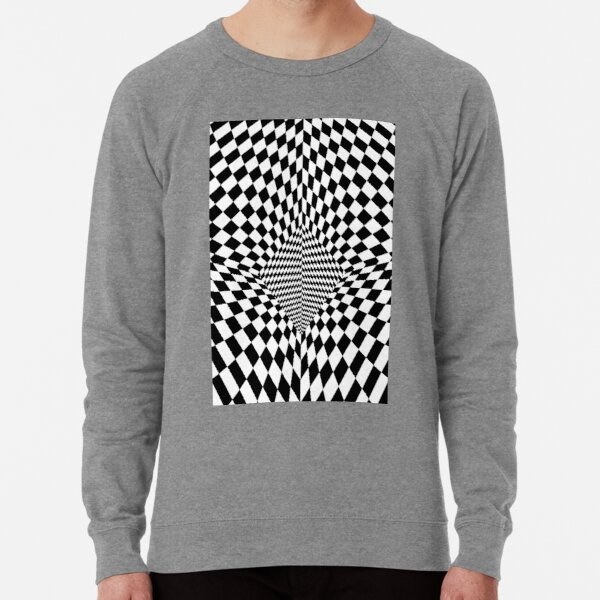 #Op #Art, #checkerboard, #chess, finish line, pattern, design, square, mosaic, plaid, grid, net Lightweight Sweatshirt