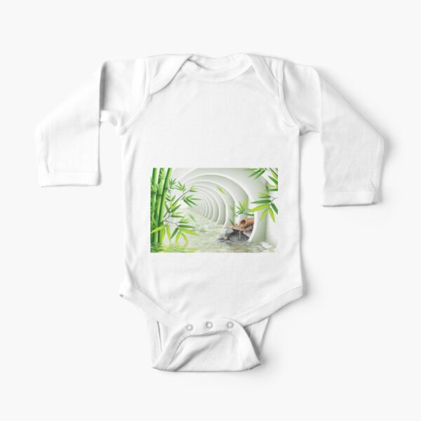 #Bamboo, #leaf, #nature, #summer, growth, tropical, water, relaxation, grass, wood Long Sleeve Baby One-Piece