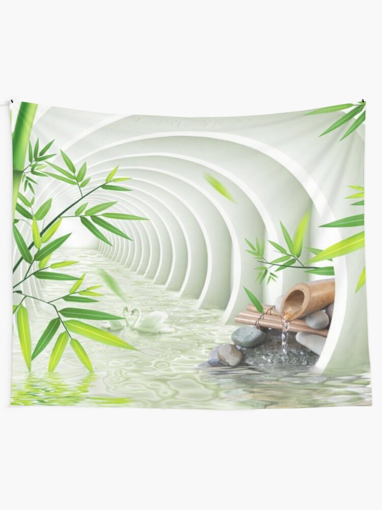 Alternate view of #Bamboo, #leaf, #nature, #summer, growth, tropical, water, relaxation, grass, wood Tapestry