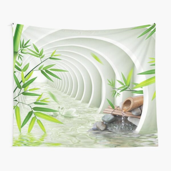 #Bamboo, #leaf, #nature, #summer, growth, tropical, water, relaxation, grass, wood Tapestry