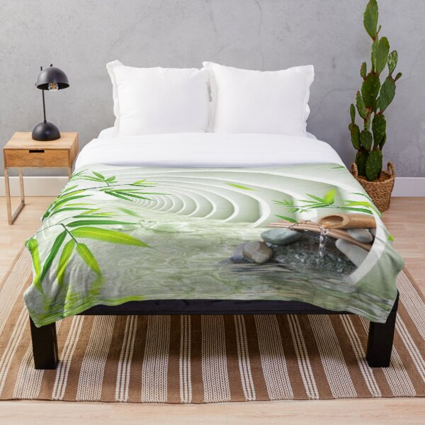 #Bamboo, #leaf, #nature, #summer, growth, tropical, water, relaxation, grass, wood Throw Blanket