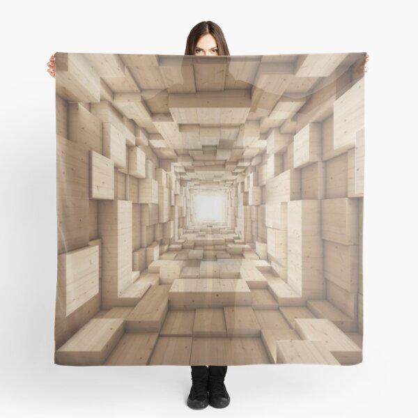 3D Wood Tunnel Optical Illusion Scarf