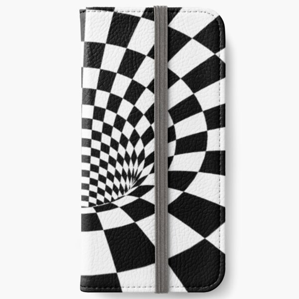 #Psychedelic in black and white, #chess, #pattern, finish line, #art, design, illustration, abstract, checkerboard, formula iPhone Wallet