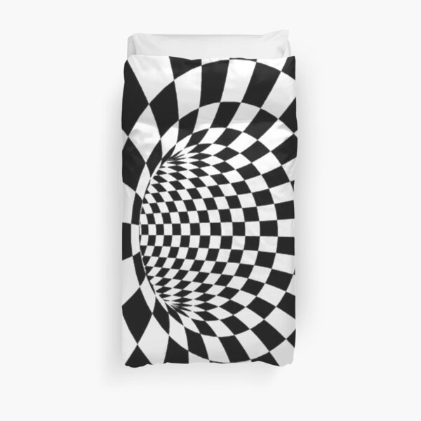#Psychedelic in black and white, #chess, #pattern, finish line, #art, design, illustration, abstract, checkerboard, formula Duvet Cover