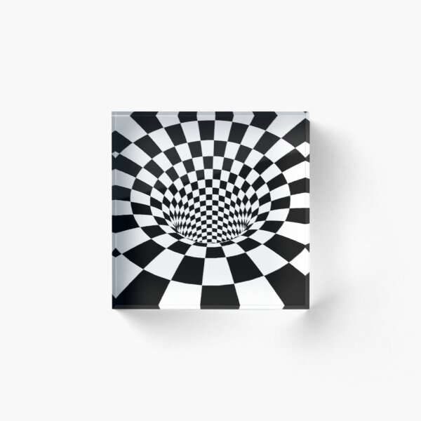 #Psychedelic in black and white, #chess, #pattern, finish line, #art, design, illustration, abstract, checkerboard, formula Acrylic Block