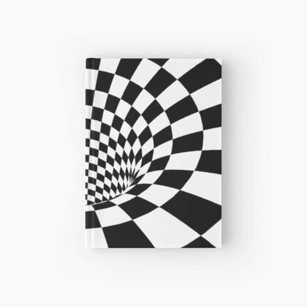 Chess, #Psychedelic in black and white, #chess, #pattern, finish line, #art, design, illustration, abstract, checkerboard, formula Hardcover Journal
