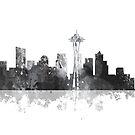 Seattle, Washington Skyline - B & W von Marlene Watson