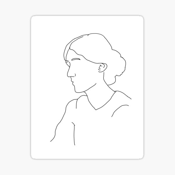 Virginia Woolf contorno Pegatina