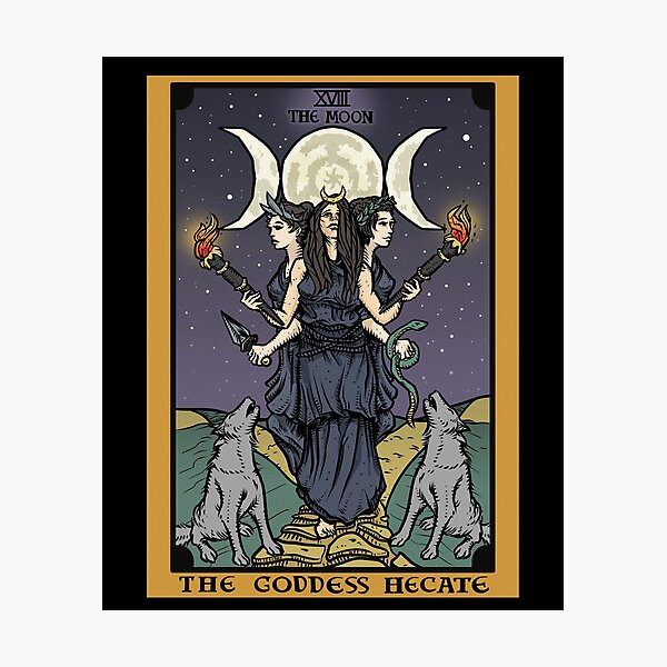 Hecate Triple Moon Goddess of Witchcraft and Magick Witch Hekate Wheel Tarot Card Photographic Print