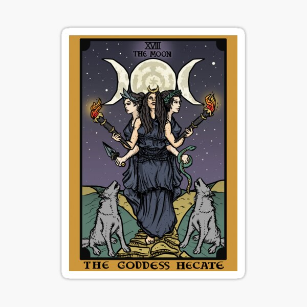 Hecate Triple Moon Goddess of Witchcraft and Magick Witch Hekate Wheel Tarot Card Sticker
