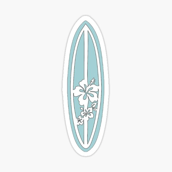 Light Blue Surfboard Sticker