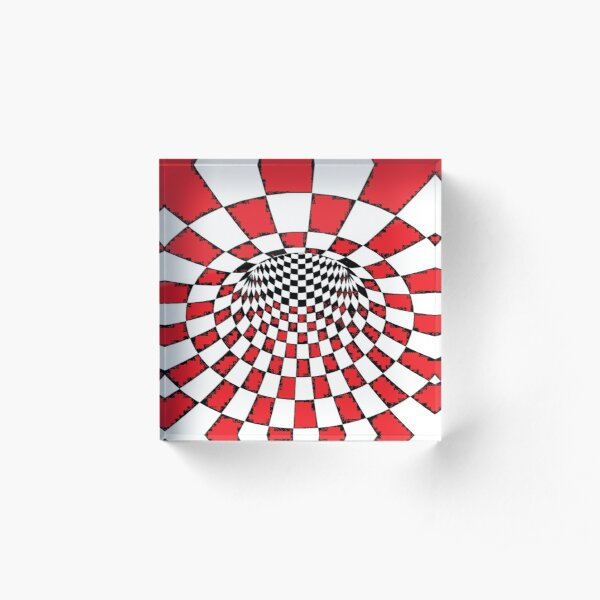 Chess, #Psychedelic in black and white, #chess, #pattern, finish line, #art, design, illustration, abstract, checkerboard, formula Acrylic Block