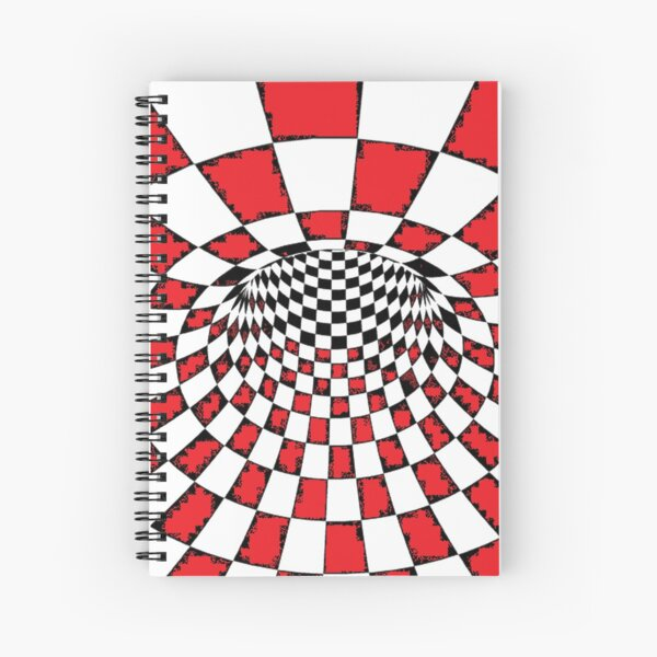 #Psychedelic in black and white, #chess, #pattern, finish line, #art, design, illustration, abstract, checkerboard, formula Spiral Notebook