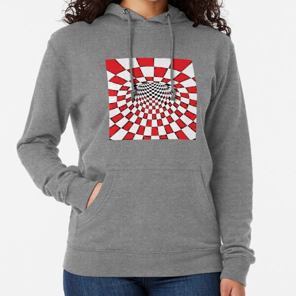 #Psychedelic in black and white, #chess, #pattern, finish line, #art, design, illustration, abstract, checkerboard, formula Lightweight Hoodie