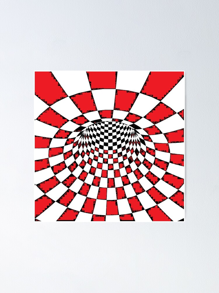 Alternate view of #Psychedelic in black and white, #chess, #pattern, finish line, #art, design, illustration, abstract, checkerboard, formula Poster