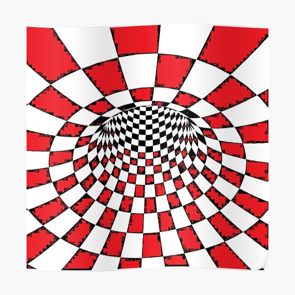 #Psychedelic in black and white, #chess, #pattern, finish line, #art, design, illustration, abstract, checkerboard, formula Poster