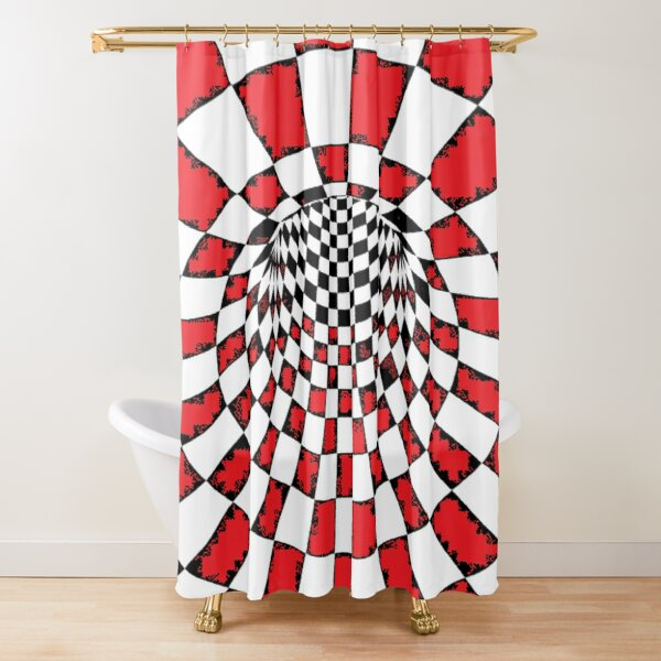 #Psychedelic in black and white, #chess, #pattern, finish line, #art, design, illustration, abstract, checkerboard, formula Shower Curtain