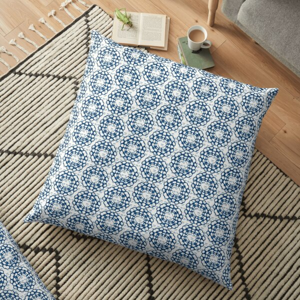 Japanese Geometric Flower Stitching in Blue and White Floor Pillow