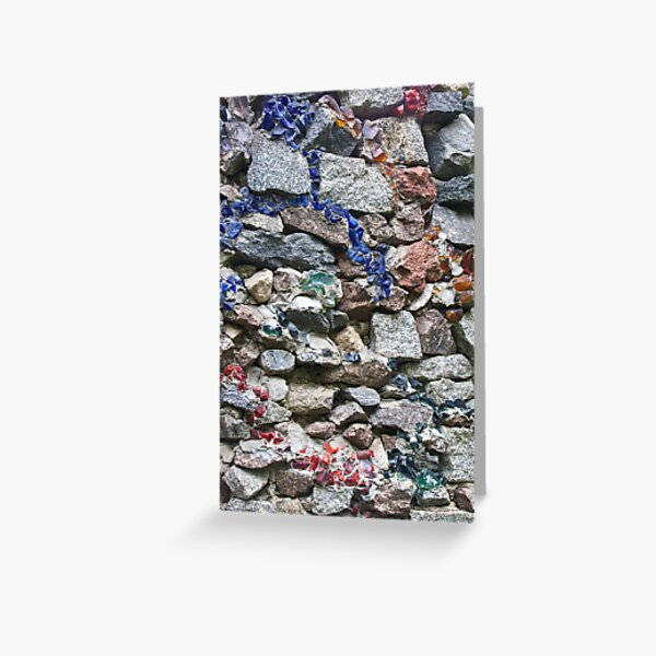 Rock wall with multi colored glass Greeting Card