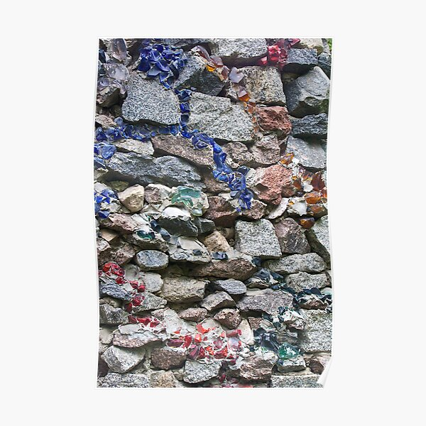 Rock wall with multi colored glass Poster