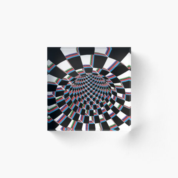 #Checkered, #Spinning, and #Curving #Tunnel Painted in Manner of Chessboard Acrylic Block