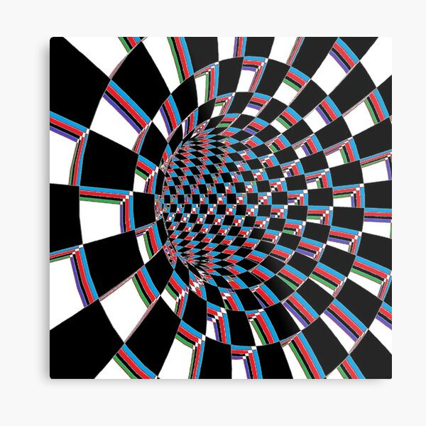 #Checkered, #Spinning, and #Curving #Tunnel Painted in Manner of Chessboard Metal Print