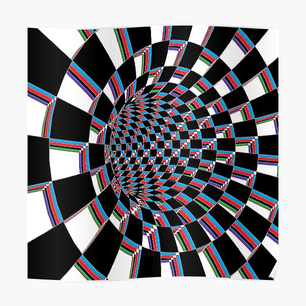 Chess, #Checkered, #Spinning, and #Curving #Tunnel Painted in Manner of Chessboard Poster