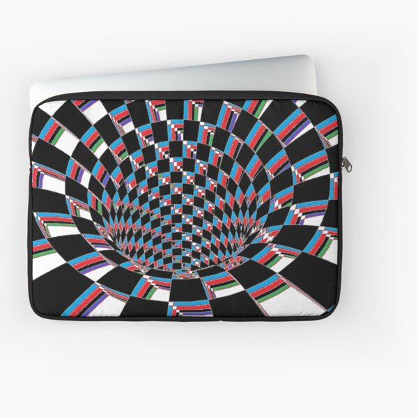 #Checkered, #Spinning, and #Curving #Tunnel Painted in Manner of Chessboard Laptop Sleeve