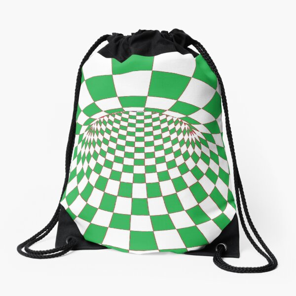 #Checkered, #Spinning, and #Curving #Tunnel Painted in Manner of Chessboard Drawstring Bag