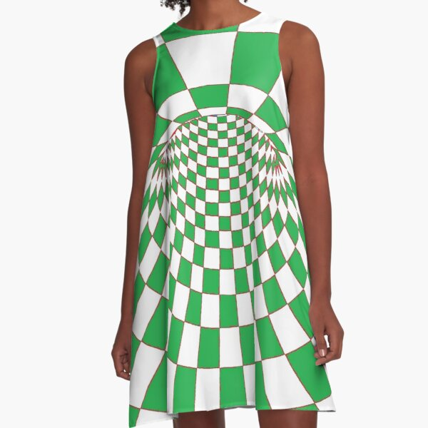 #Checkered, #Spinning, and #Curving #Tunnel Painted in Manner of Chessboard A-Line Dress