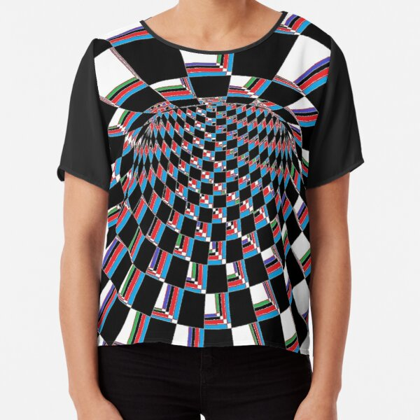 #Checkered, #Spinning, and #Curving #Tunnel Painted in Manner of Chessboard Chiffon Top