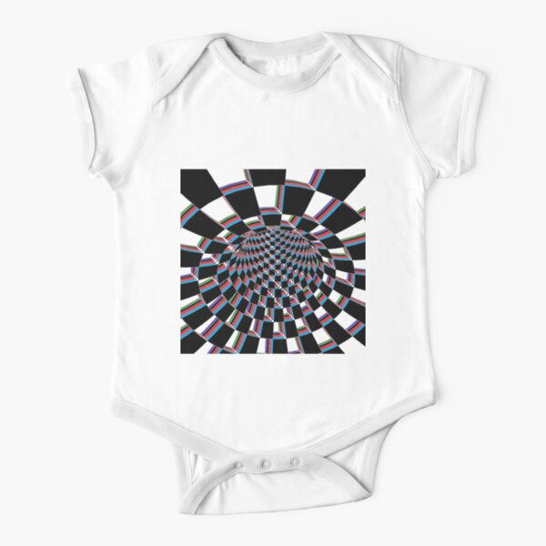 Chess, #Checkered, #Spinning, and #Curving #Tunnel Painted in Manner of Chessboard Short Sleeve Baby One-Piece