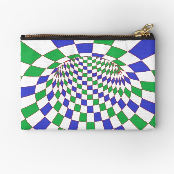 #Checkered, #Spinning, and #Curving #Tunnel Painted in Manner of Chessboard Zipper Pouch
