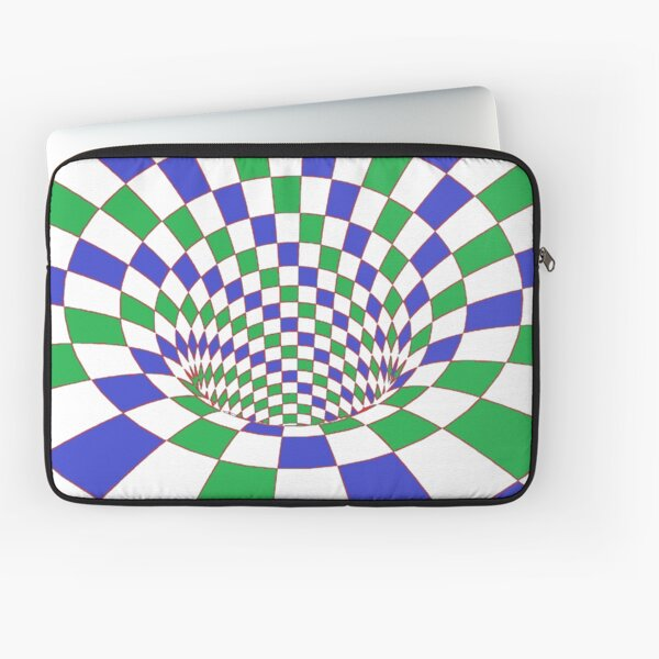 Chess, #Checkered, #Spinning, and #Curving #Tunnel Painted in Manner of Chessboard Laptop Sleeve