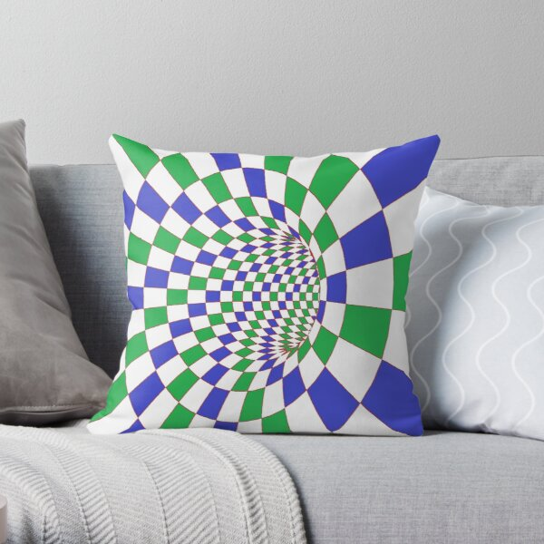 Chess, #Checkered, #Spinning, and #Curving #Tunnel Painted in Manner of Chessboard Throw Pillow