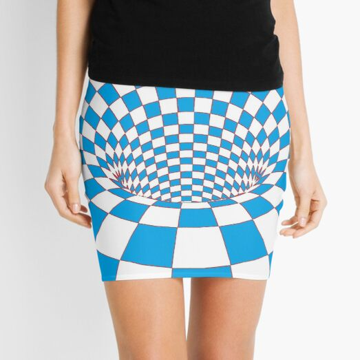 #Checkered, #Spinning, and #Curving #Tunnel Painted in Manner of Chessboard Mini Skirt