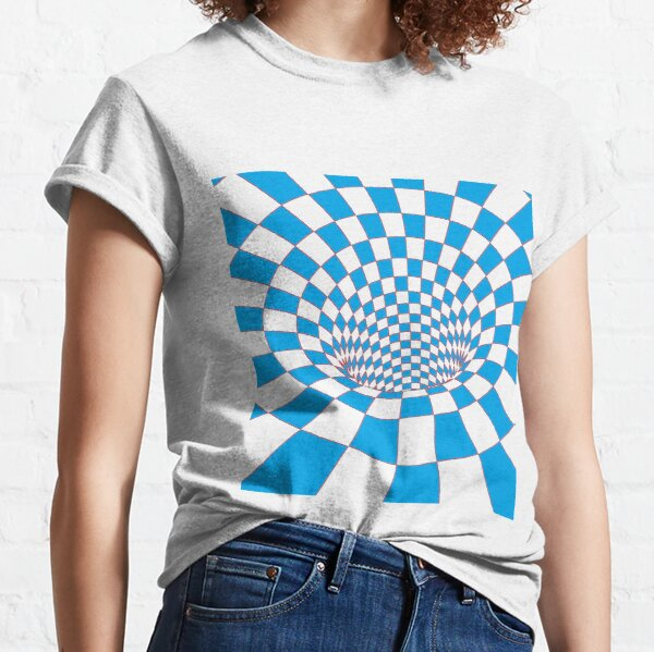 Chess, #Checkered, #Spinning, and #Curving #Tunnel Painted in Manner of Chessboard Classic T-Shirt