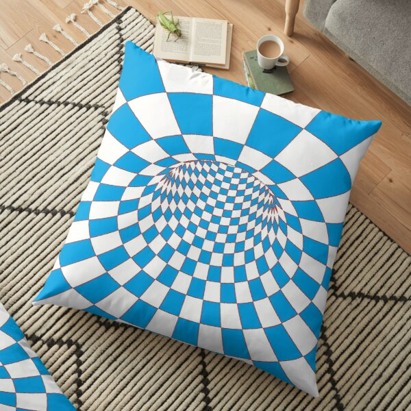 Chess, #Checkered, #Spinning, and #Curving #Tunnel Painted in Manner of Chessboard Floor Pillow