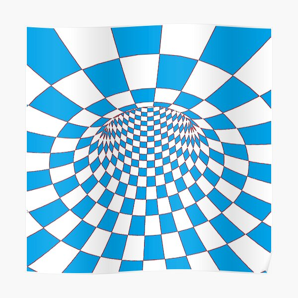 #Checkered, #Spinning, and #Curving #Tunnel Painted in Manner of Chessboard Poster