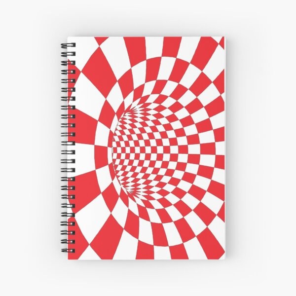 Chess, #Checkered, #Spinning, and #Curving #Tunnel Painted in Manner of Chessboard Spiral Notebook