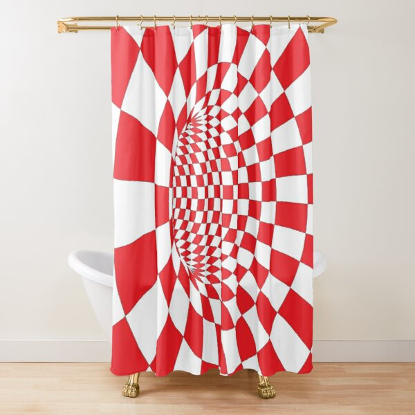 #Checkered, #Spinning, and #Curving #Tunnel Painted in Manner of Chessboard Shower Curtain