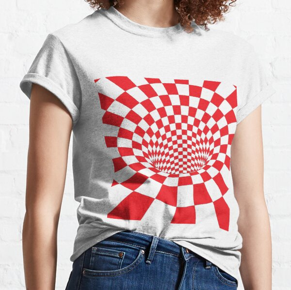 #Checkered, #Spinning, and #Curving #Tunnel Painted in Manner of Chessboard Classic T-Shirt