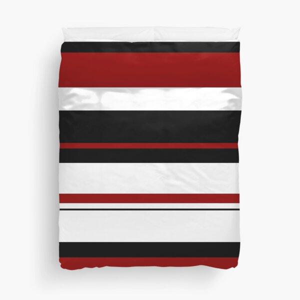 Red Black White Abstract Stripes Duvet Cover