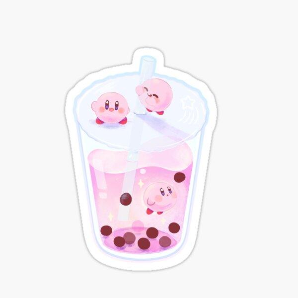 Kirby galaxy bubble tea boba star allies strawberry milk tea  Sticker