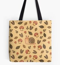 Snail, Mushrooms and Leaves  Tote Bag